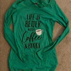 Green long sleeve coffee and books tee